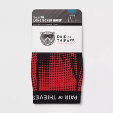 "Pair of Thieves Men's SuperFit Long Boxer Briefs Red Size L Large 34-36"""