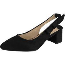 Womens Ladies Party Sandals Elastic Slingback Strap Summer Mid Heel Shoes Size Black UK 6 / EU 39 / US 8