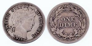 Lot of 2 1913 Barber Dimes (P + S) Good and XF Condition