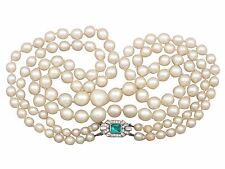 Double Strand Pearl Necklace with 18k White Gold and 0.43 ct Diamond Clasp