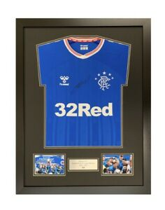 frame for signed rangers 55 winners shirt double mount with plaque & photo slots