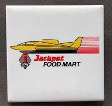 1990 JACKPOT FOOD MART square pinback button hydroplane boat racing