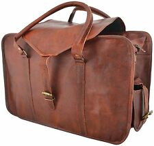 Real goat leather handmade travel luggage vintage holiday soft strong duffel bag
