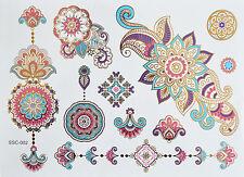 Flash Tattoo Extra Large Blatt Zarte Farben Metallic Tattoo sc02 Henna Design