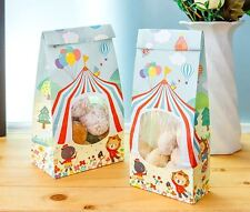 15 Paper Gift Bags Medium clear plastic Window Flat Bottom Lolly kids Party Loot