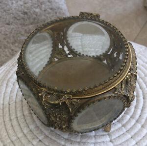 Vintage 5 Sided Beveled Glass Brass Footed Casket Jewelry Trinket Box Ormolu?