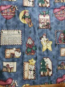Vintage Cotton Fabric Good Tidings Gift Tag 1997 Kath Walters Christmas 2 yards