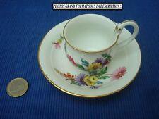 V19 Tasse Porcelaine MEISSEN Saxe décor fleurs peint main porzellan cup