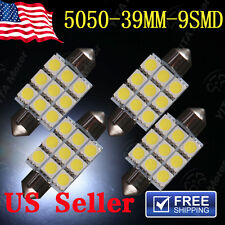 4Pcs White 39mm 5050 9SMD Car Festoon Dome Map Interior LED Light  Lamp Bulbs