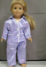 """18"""" American Girl: Doll Clothes - Lavender Satin Pajamas for PJ's Night"""