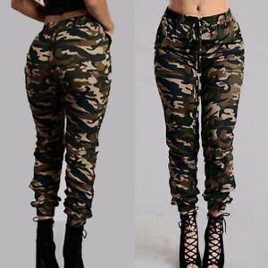 ZANZEA Women Tapered Camouflage Cargo Pants Camo Printed Plus Size Long Trousers