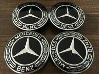 Mercedes Benz Wheel Caps x 4 75mm Black Chrome Centre caps AMG A B C E S ML