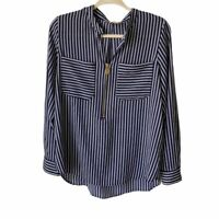 Micheal Kors Womens Large Blue and White Striped Long Sleeve Top