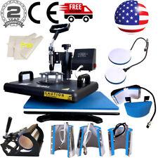 """8in1 12""""x15"""" Combo Heat Press Machine Swing Away Multifunctional T-shirt Mugs US"""