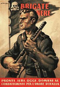 Vintage Italian Fascist Propaganda Black Brigade Italy Poster Art Print A4