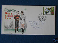 First Day Cover - Rugby Union Centenary - Stamped - 25/8/71 Shildon, Co. Durham