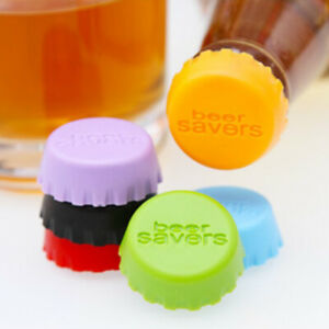 6pcs Reusable Silicone Bottle Caps Beer Cover Soda Cola Lid Wine Saver Stoppe*wf