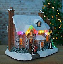 Christmas Village House LED Scene Multi Coloured Icicles Decoration Home Glitter