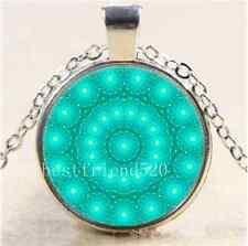 Green glow mandala Cabochon Glass Tibet Silver Chain Pendant Necklace