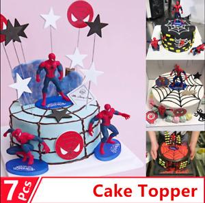 7 PCS 3D Superhero Spiderman  Cake Topper Cup Cake Decorations Birthday Reusable
