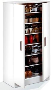 Alfy Alpine White Shoe Storage Unit Cabinet Cupboard Shoe Rack with Shelves