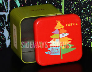 rare 2009 FOSSIL EMPTY HOLIDAY WATCH TIN christmas tree red lid collectible box