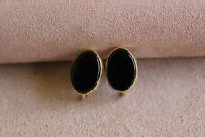 Vintage G.M.S 12k GF Bezel Set Genuine Onyx Oval Screw Back Earrings Signed