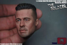 1/6 scale Brad Pitt tête threeq MG002 le soldat furieux Fury réservoir