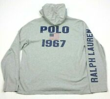 Polo Ralph Lauren Gray Long Sleeve Hoodie T-Shirt Block Spell Out Big Pony Large