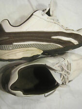 Sketchers Men's Sneakers Shoes~White Leather w/Brown Trim~Size 13 US~LBDWN