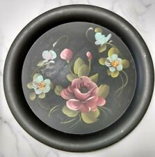 """Vintage Hand Painted Tray. Fine Arts Studio. Floral Toleware. 11.25"""" Round."""