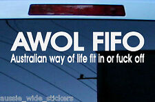 New 300mm Funny Aussie Custom Car Stickers AWOL FIT IN For Patriotic BNS 4x4 UTE