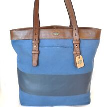 NEW FOSSIL BLUE CANVAS+BROWN LEATHER ESTATE CB UTILITY HAND BAG,TOTE,PURSE
