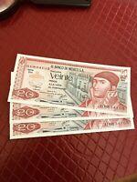 Log Of  3 1977 - El Banco de Mexico - 20 Veinte Pesos Conservative Series Notes