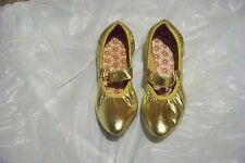 womens gold leather pointd toe maryjane dance shoes size 8 n