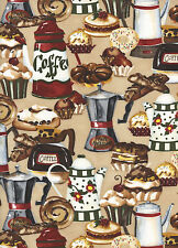 Cafe Americano 1 Fat Quarter 100% cotton fabric quilt quilting coffee pastries