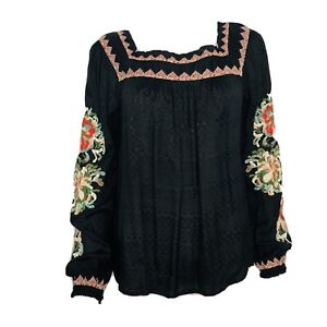 Sundance Black Peasant Embroidered Sequin Floral Top Blouse Pullover Viscose S