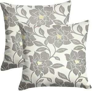"2 X PALE GREY CHENILLE VELVET FLORAL ROSE FLOWER 18"" LINEN CUSHION FILLED £15.99"
