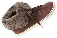 $150 Ugg Shearling High Top Tennis Shoes 7 Espresso Brown Boots Sneakers NIB