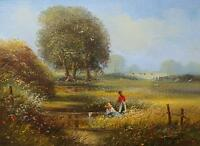 Ted Dyer Original Oil Painting Rural Countryside Landscape With Children Fishing