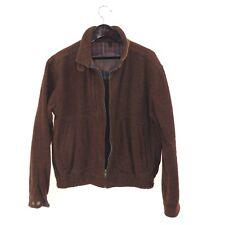 WOOLRICH L Bomber Harrington Jacket Wool Burgundy Red Vintage Made in USA
