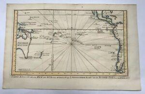 AUSTRALIA NEW ZEALAND PACIFIC 1753 NICOLAS BELLIN NICE ANTIQUE MAP 18TH CENTURY