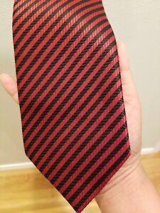 Hermes Men's Red Striped 100% Silk Necktie Neck Tie 63 L 3.75W