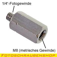 """Sechskantadapter Außengewinde 1/4""""- Innengewinde M8 (Fotoschraube, Adapter)"""