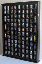 100 Shot Glass Display Case Wall Cabinet Shadow Box,  Mahogany Finish, SC15-BLA