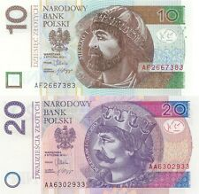 POLAND 10 /& 50 ZOLTY  2 PIECE Paper Money Year 2012 UNCIRCULATED 60 Zolty UNC.