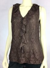 Cato Womens Size M Brown NWT Lined Lace Sleeveless Ruffle Tank Top A34-25