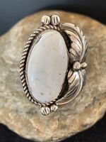Navajo Native American Sterling Silver White Buffalo Turquoise Ring Sz 9.5 143