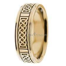 18K SOLID YELLOW GOLD MENS CELTIC KNOT WEDDING BANDS RINGS MANS WEDDING RING 7MM