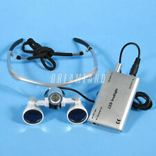 Dental 3.5X Binocular Loupes Surgical Glasses Magnifier with LED Head Light ES